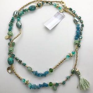 Nordstrom long necklace with gemstones and beads